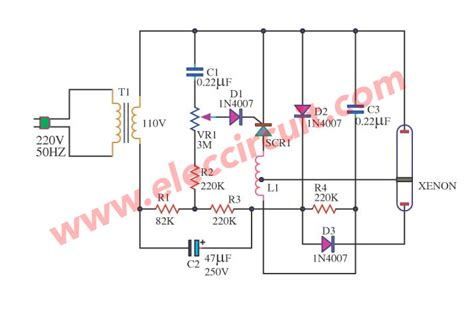 Xenon Strobe Light Using Scr Eleccircuit