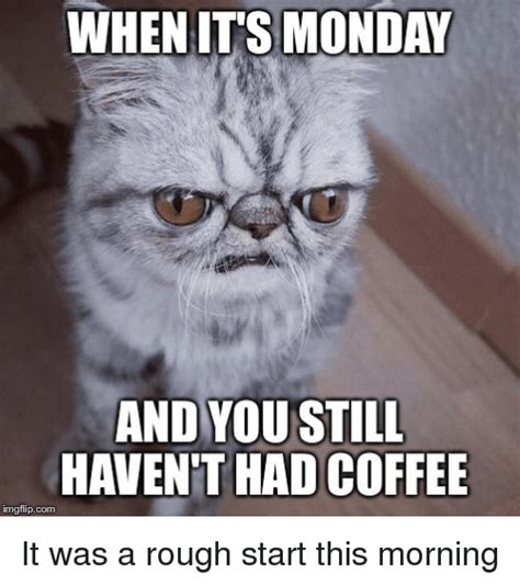 Monday Morning Memes - when its monday and you still havent had coffee img flip com it was a rough start this morning
