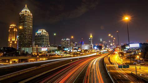 atlanta usa city night lights street light building