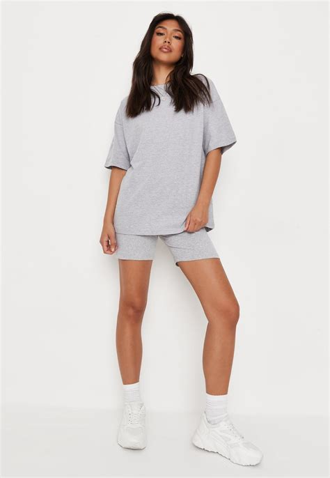 Grey Oversized T Shirt And Cycling Shorts Co Ord Set | Missguided
