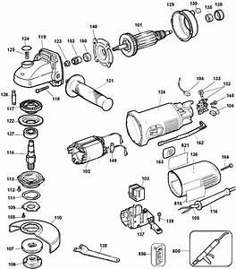 Dewalt Dw821 Angle Grinder Parts  Type 1  Parts