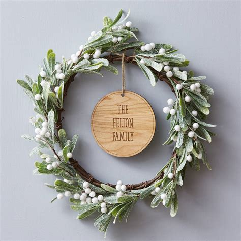 mistletoe personalised christmas wreath  sophia victoria