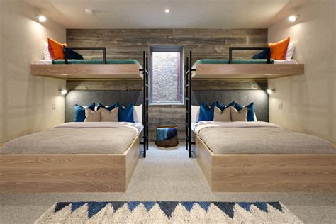 Adult bunkbeds bedroom contemporary with two bunk beds