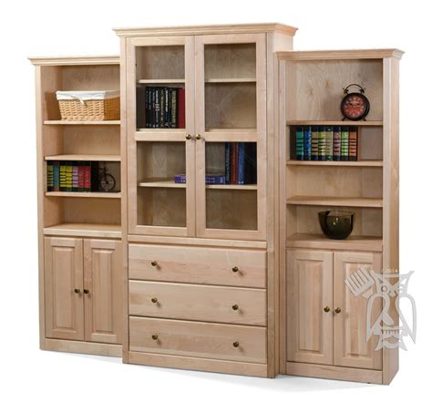 bookcases with doors arthur w brown basic maple wood wall units 3