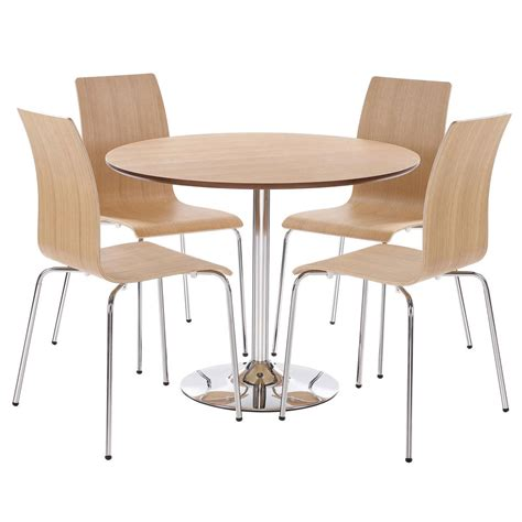 oak finish bentwood dining table and chair set with