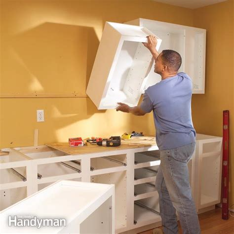 upper corner kitchen dimensions how to install kitchen cabinets family handyman