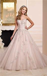 romantic ball gown strapless blush pink tulle lace beaded With pink beaded wedding dress