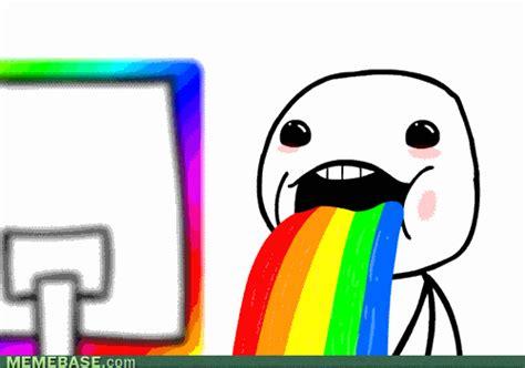 Drooling Rainbow Meme - image gallery rainbow trollface