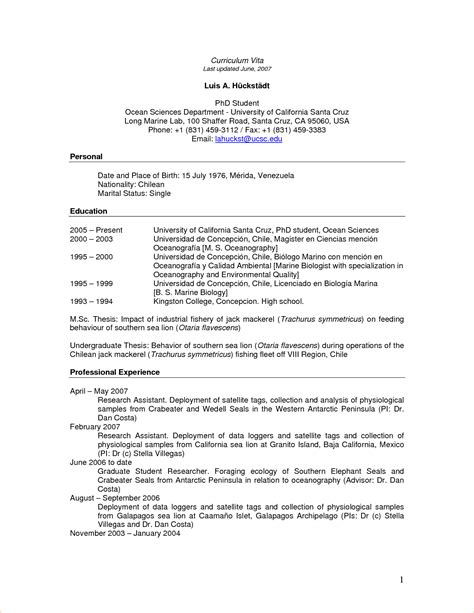 How To Write An Academic Cv For Phd by Academic Cv For Phd Application Sle Business Templated Business Templated