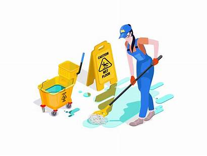 Cleaning Office Vector Woman Service Cleans Professional