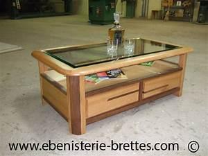 Table Basse Bois Moderne : table basse en bois de merisier et noyer dessus en verre livraison antibes sur la c te d 39 azur ~ Melissatoandfro.com Idées de Décoration