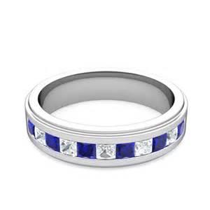 mens sapphire wedding bands princess cut sapphire mens wedding band platinum my