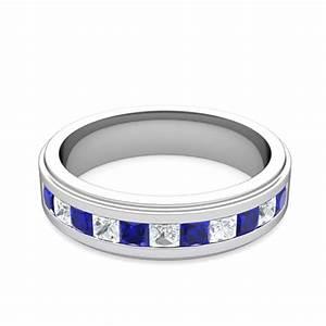 princess cut diamond sapphire mens wedding band platinum With mens wedding rings with sapphires