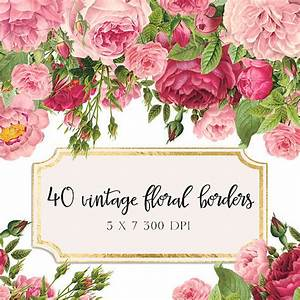 Vintage floral borders clipart shabby chic clipart for Wedding invitations with flowers vintage frame