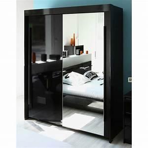 Armoire Porte Miroir : armoire 2 portes coulisantes avec miroir l184xp61xh217cm ~ Teatrodelosmanantiales.com Idées de Décoration