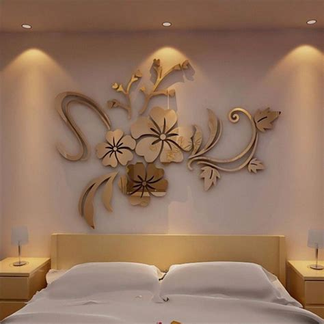 mirror floral art removable wall sticker acrylic mural