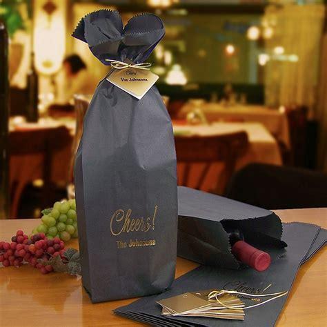 custom printed black wine bottle gift bags  tags