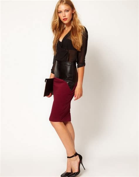 Red pencil skirt outfit
