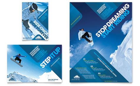 ski snowboard instructor flyer ad template word