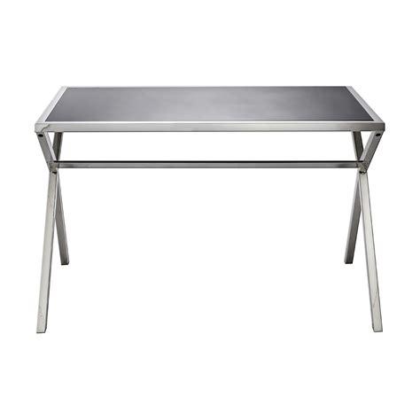 bureau acier et verre bureau de design en acier et verre noir brillant l120xh75