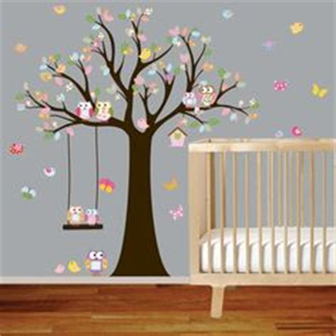 sticker arbre chambre bébé vinyl wall decal stickers owl tree with swing by