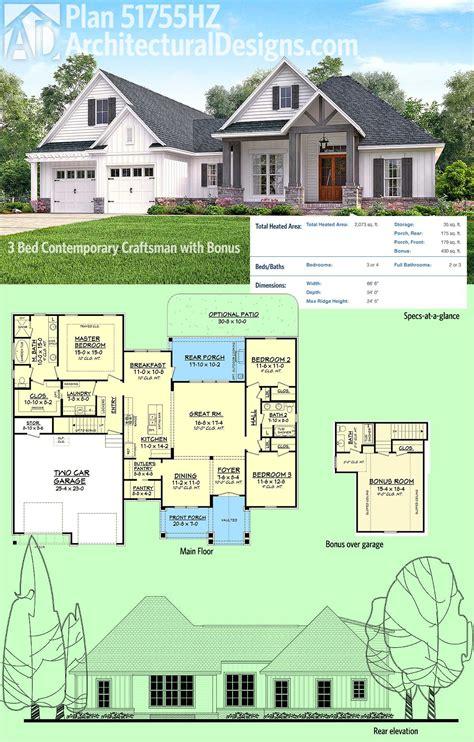 plan hz  bed contemporary craftsman  bonus  garage   house plans