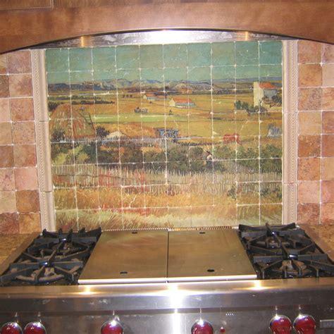kitchen tile murals backsplash gogh marble tile mural in rustic kitchen backsplash