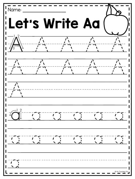 letter a handwriting practice worksheet students are