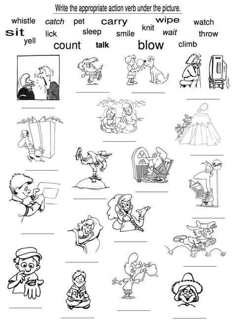 exles of action verbs verb worksheets for kindergar criabooks criabooks tutorial verb