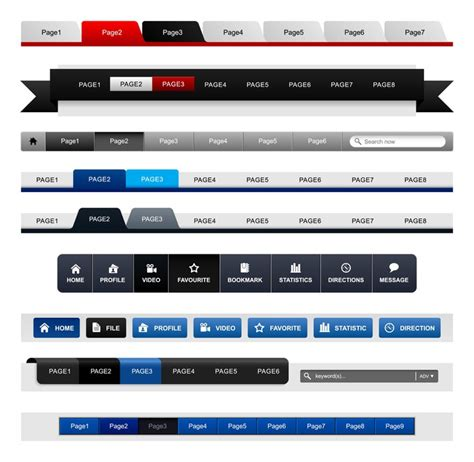 web design menu navigation bar website header element wall