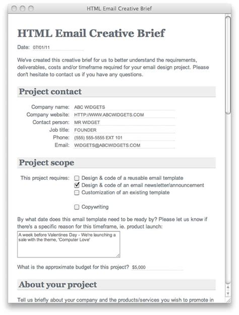 creative brief template html email creative brief template caign monitor