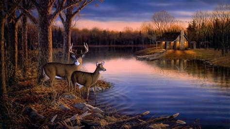 whitetail deer scene painting paintingart widescreen