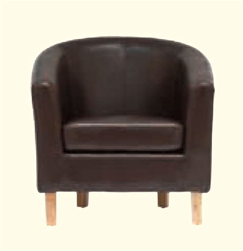 oxford faux leather tub chair brown