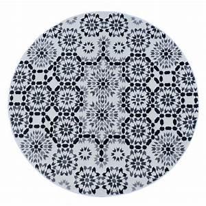 Tapis Blanc Rond : tapis tanger noir et blanc rond ~ Dallasstarsshop.com Idées de Décoration