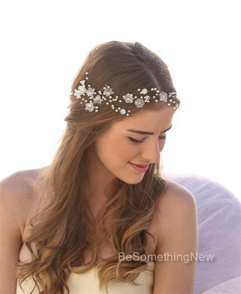 wedding hair vine  vintage flowers pearls