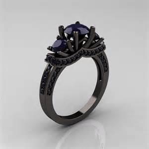 black metal engagement rings 14k black gold three blue sapphire wedding ring engagement ring r182 14kbgddbs
