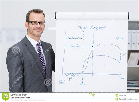Project Manager Giving A Presentation Stock Photo Image