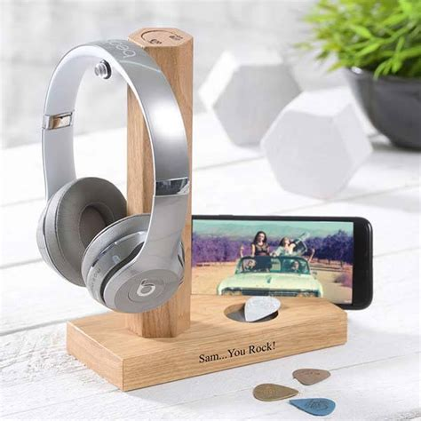 handmade personalized wooden headphone stand  phone
