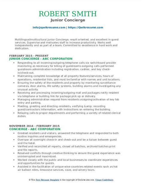 Concierge Resume Sle by Concierge Resume Sles Qwikresume