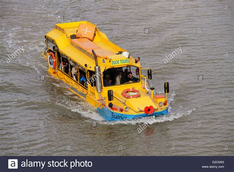 hibious vehicle duck amphibious vehicle in the river thames as part of the duck
