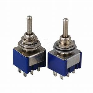 Pair Blue Toggle Switch Double Pole Double Throw On