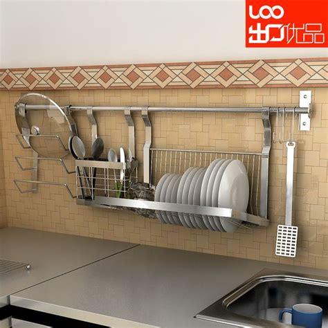 wall mounted stainless steel dish rack shelf chopsticks tube pot rack combination