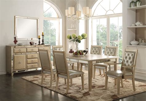 9 piece acme voeville mirrored dining set