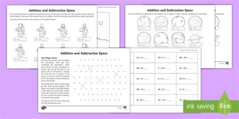 * New * Ks1 Addition And Subtraction Facts Within 20 Spacethemed Activity