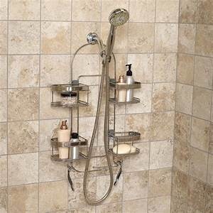 Zenith products quotkempquot premium over the shower caddy for Bathroom caddies accessories