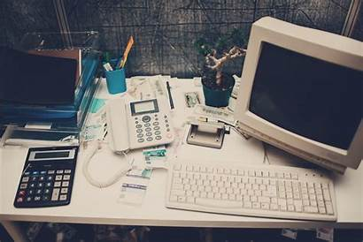 Computer Office Technology Outdated Kick Traditional Retro