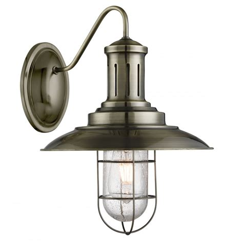 6503ab fisherman caged wall light antique brass seeded glass