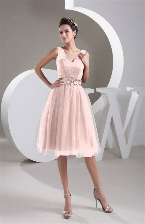 pastel pink inexpensive bridesmaid dress short sheer knee