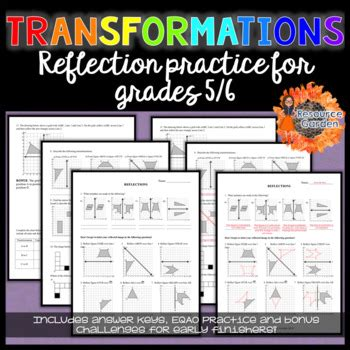transformations practicing reflections worksheet by resource garden