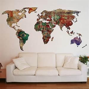 Adesivo de Parede Mapa Mundi Para Decoração da Sala de Estar